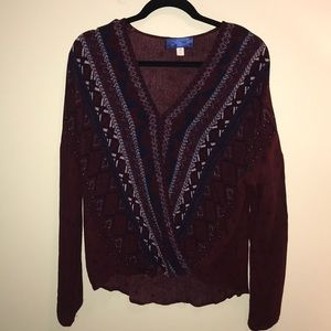 Maroon and navy patterned wrap top
